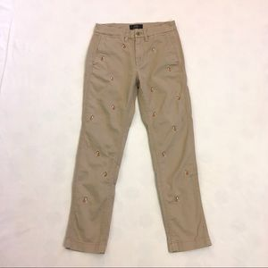 J. Crew chino khaki pants with embroidered dogs